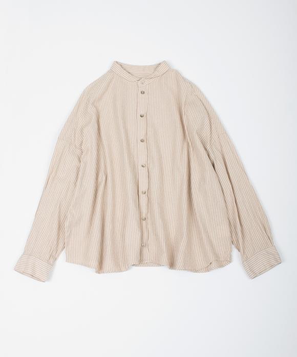 コットンリネン撚り杢ストライプシャツ