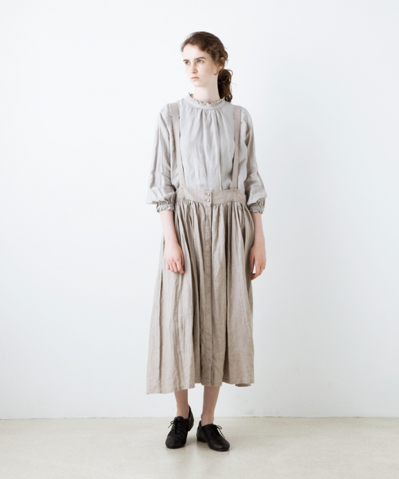 リネン3wayサスペンダースカート limited color