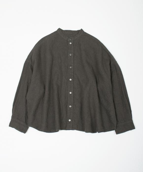 ラミーリネン起毛バンドカラーシャツ