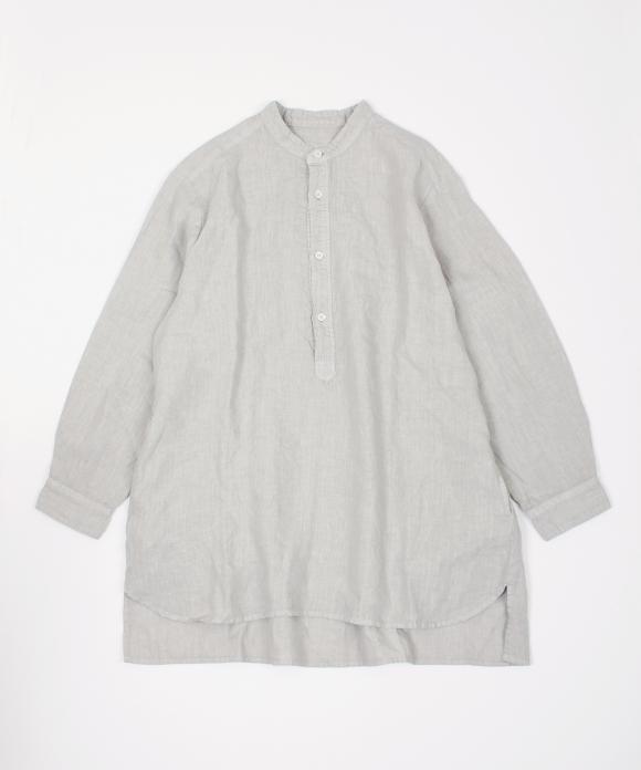 リネンバンドカラープルオーバーシャツ