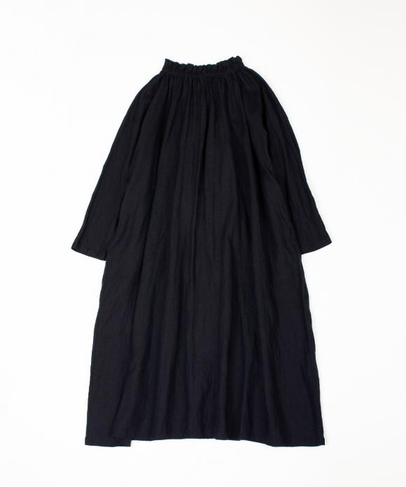 リネンシャーリングネックワンピース ブラック limited item