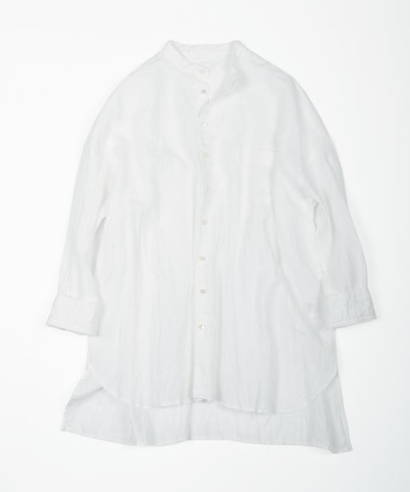 リネンハイカウントバンドカラーシャツ