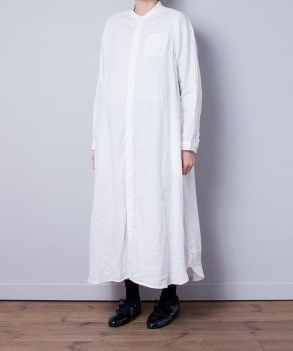 リネンバンドカラーシャツワンピース