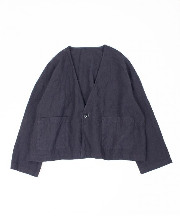 高密度リネン1つボタンルーズジャケット