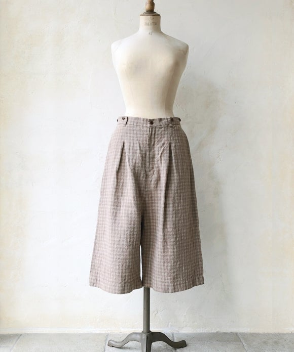 "【""Artisan"" Collection】LINEN CHECK CULOTTE PANTS"