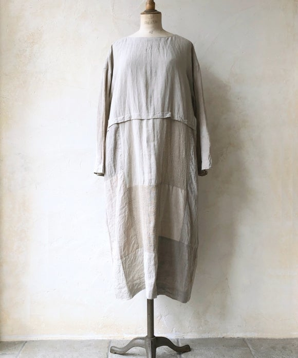 "【""Artisan"" Collection】LINEN PATCHWORK DOLMAN ONEPEACE"
