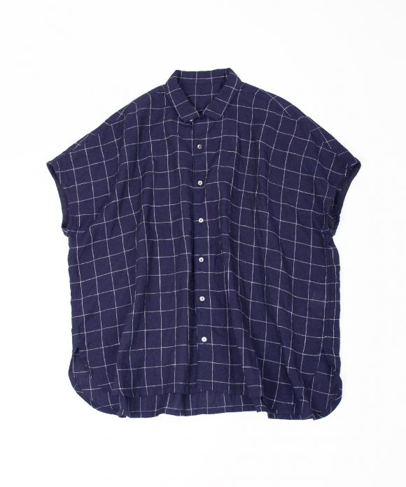 リネンチェックオープンカラーシャツ