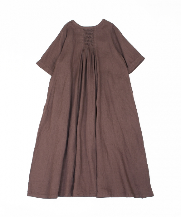 リネンウェーブタックドレス