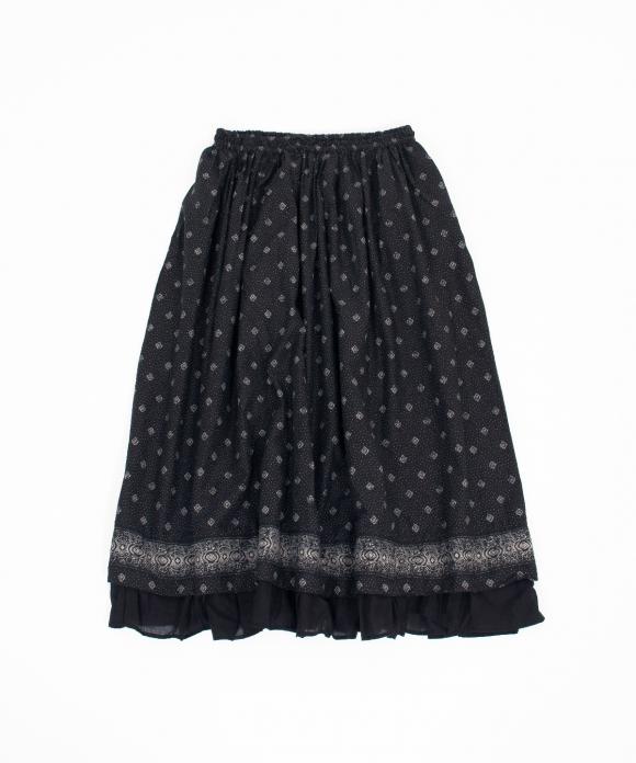 コットンシルクボーダープリントスカート