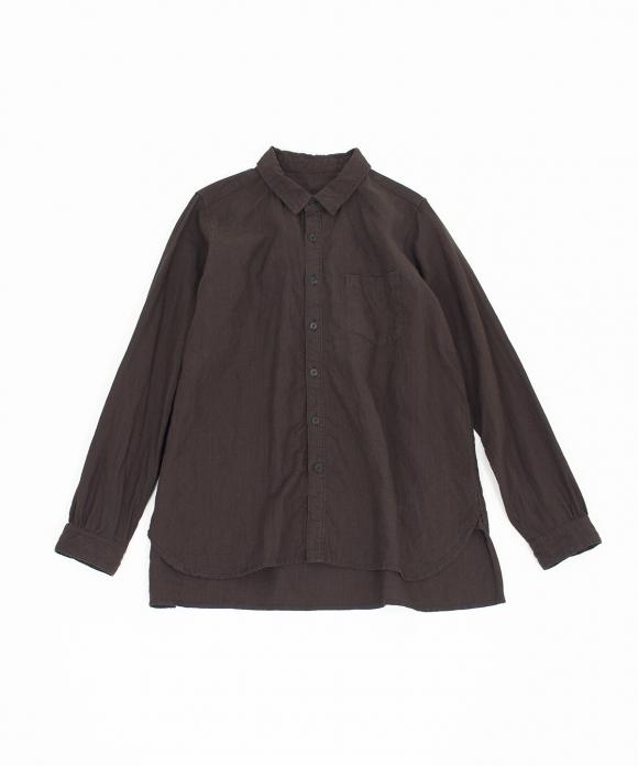 高密度リネン天然染めレギュラーカラーシャツ