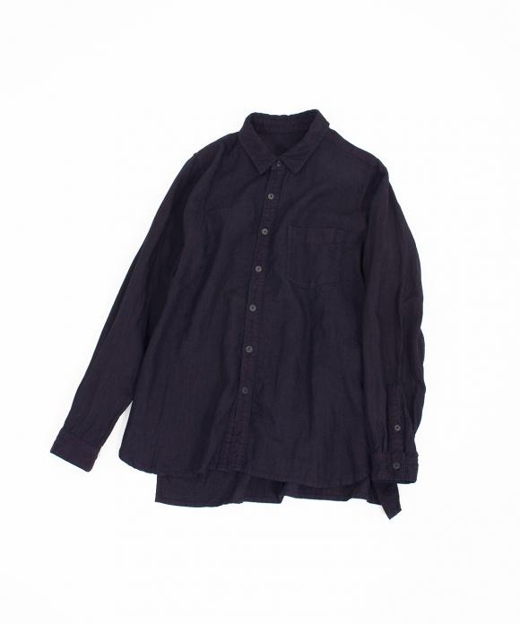 高密度リネンインディゴレギュラーカラーシャツ