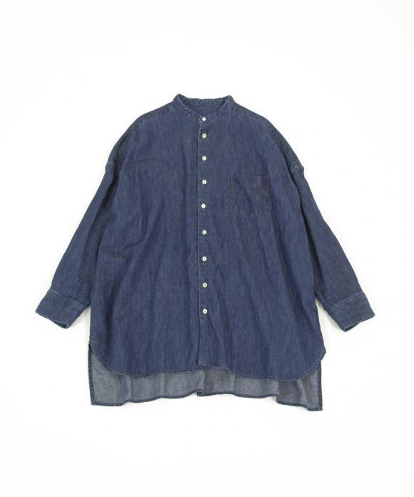 コットンリネンデニムバンドカラーシャツ