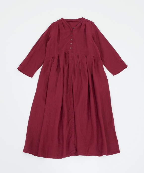 リネンYネックドレス