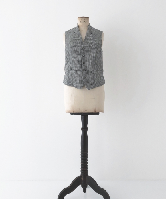 "【""Artisan"" Collection】LINEN CHECK PEAKED LAPEL VEST ギンガムチェック"