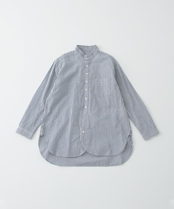 ストライプスモールスタンドカラーシャツ