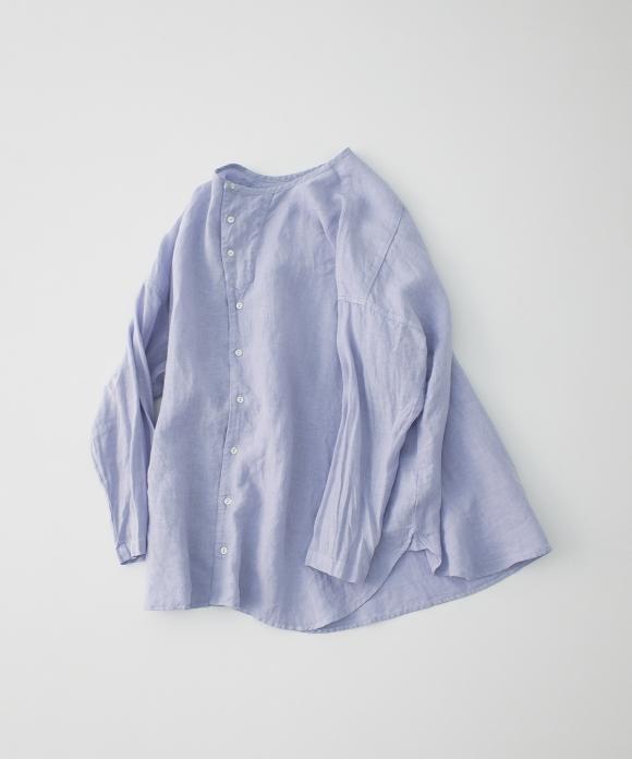 リネンノーカラーシャツ