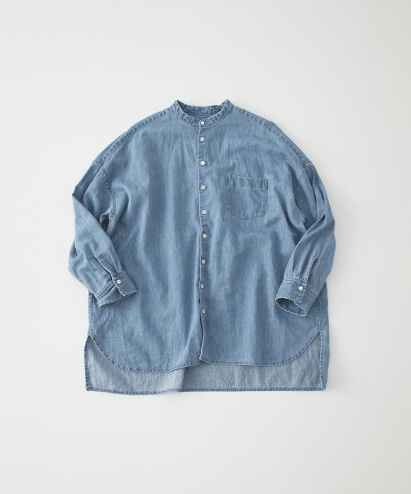 コットンリネンデニムバンドカラーシャツ limited item