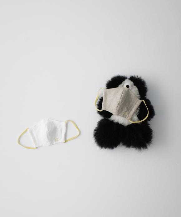【キッズXS】リネンマスク オフシロ