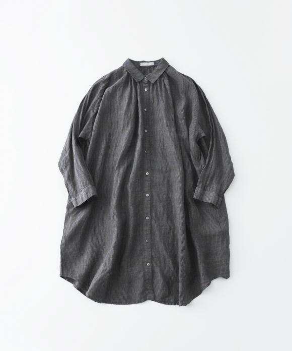 リネンストライプネックギャザーシャツ