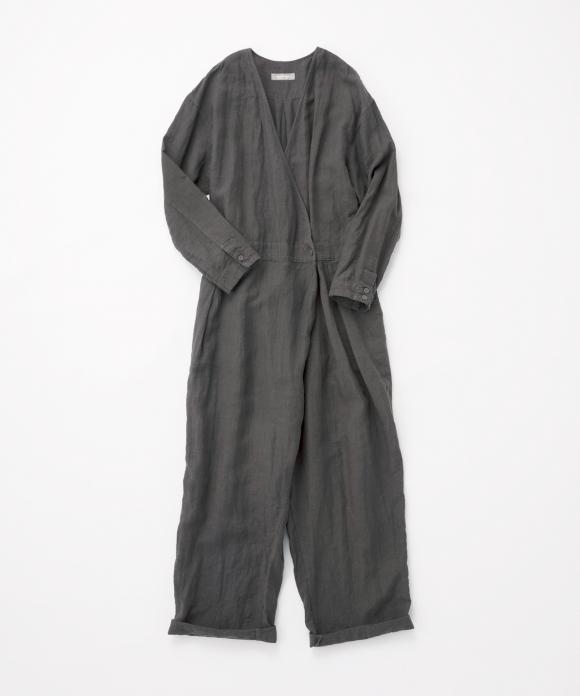 リネン縮緬加工ジャンプスーツ
