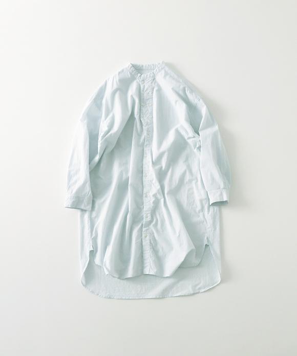 コットンリネンブロードダブルボタンロングシャツ