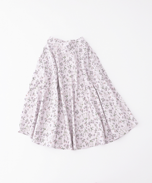 【UpcycleLino】flowers テールフレアスカート ハンガー付き