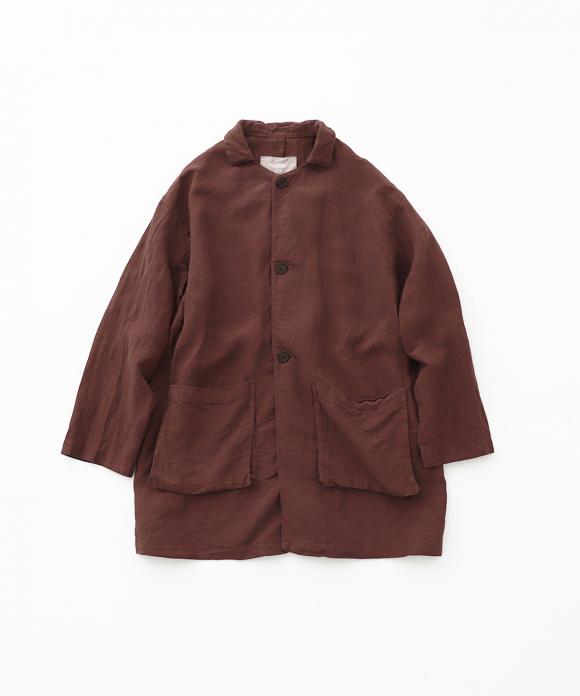 リネン近江晒ロングシャツジャケット