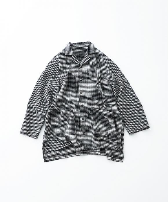 コットンリネンアムンゼンチェックオープンカラーシャツ