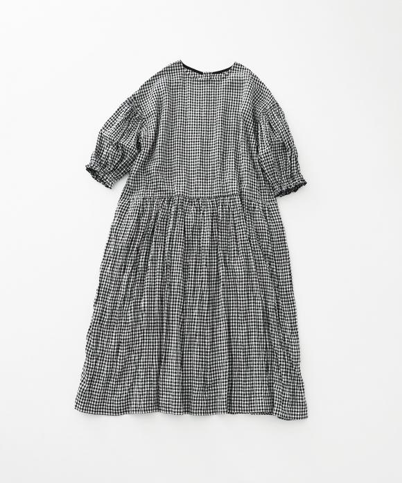 リネンギンガムバルーンスリーブワンピース limited item