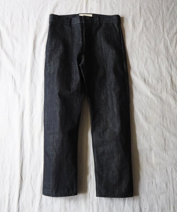 Cotton Hemp Selvage Denim Tapered Trousers