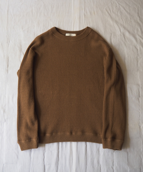 Cotton Rib Stitch Crew Neck Pullover