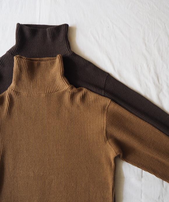 Cotton Rib Stitch High Neck Pullover