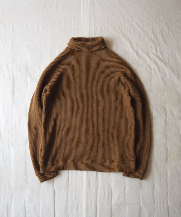 Cotton Rib Stitch High Neck Pullover