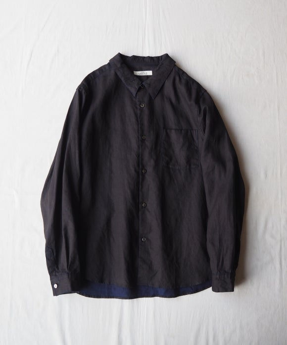 Ink Coating Indigo Linen Military Shirt