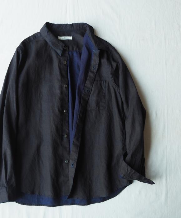 Ink Coating Indigo Linen Military Shirt