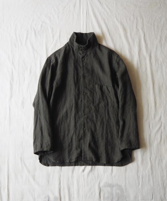 Brushed Linen High Neck Shirt
