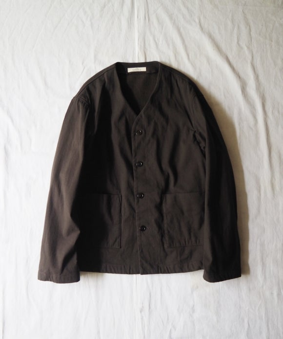 Cotton Boa No-Collar Jacket