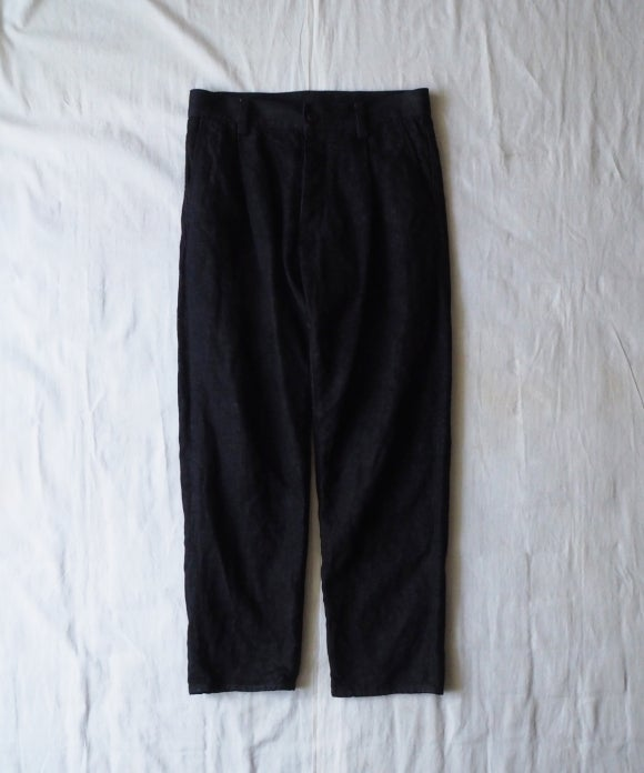 Cotton Linen Denim Tuck Tapered Trousers