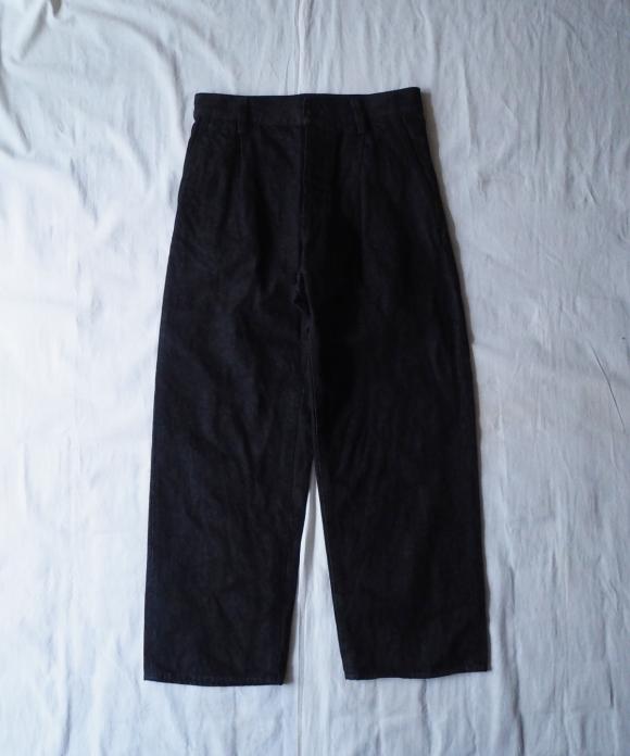 Cotton Linen Denim Tuck Wide Trousers