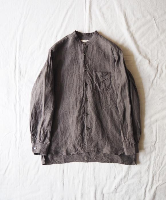 リネンバンドカラーシャツ