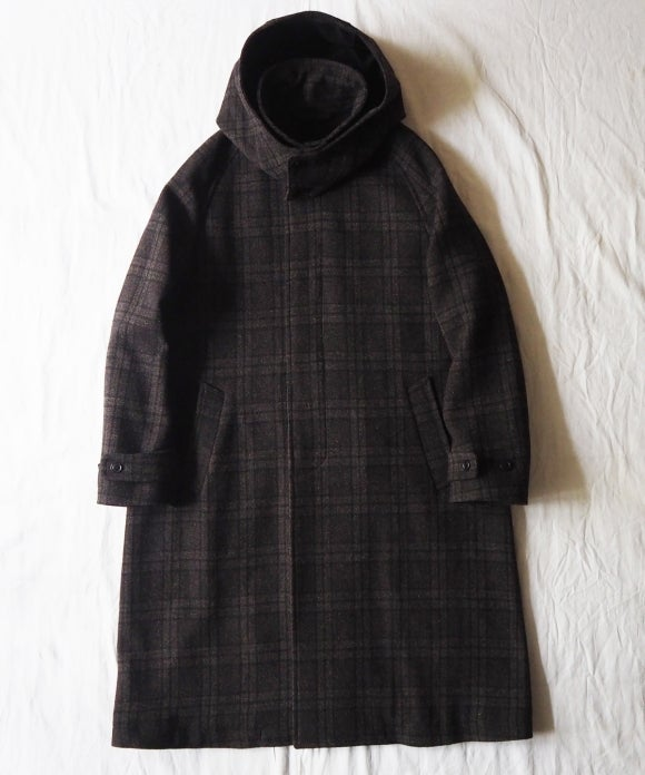 Wool Check Detachable Hooded Coat