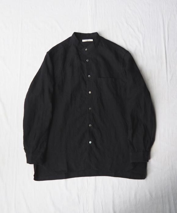 Brushed Linen Band Collar Shirt