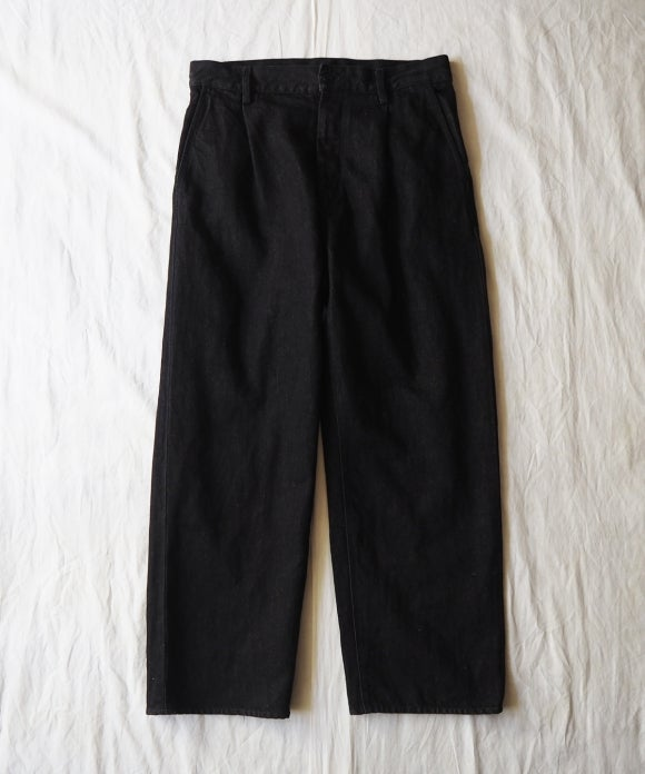 Sulfur Dyed Black Denim Tuck Wide Trousers