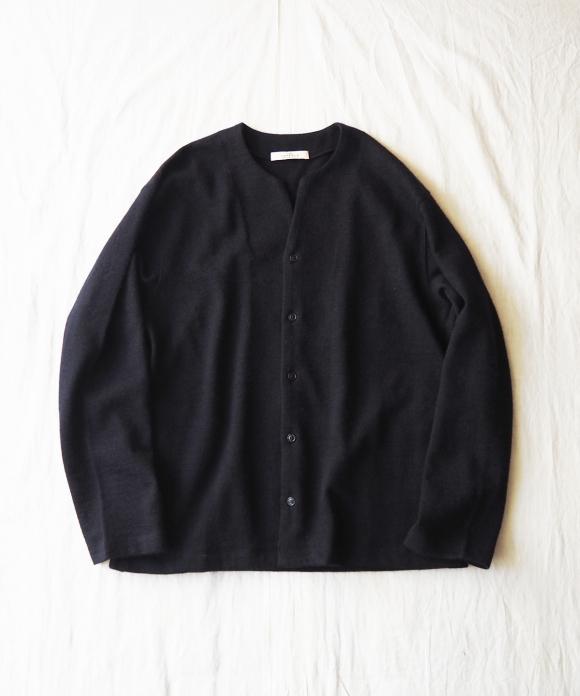 Wool Cotton Key Neck Cardigan