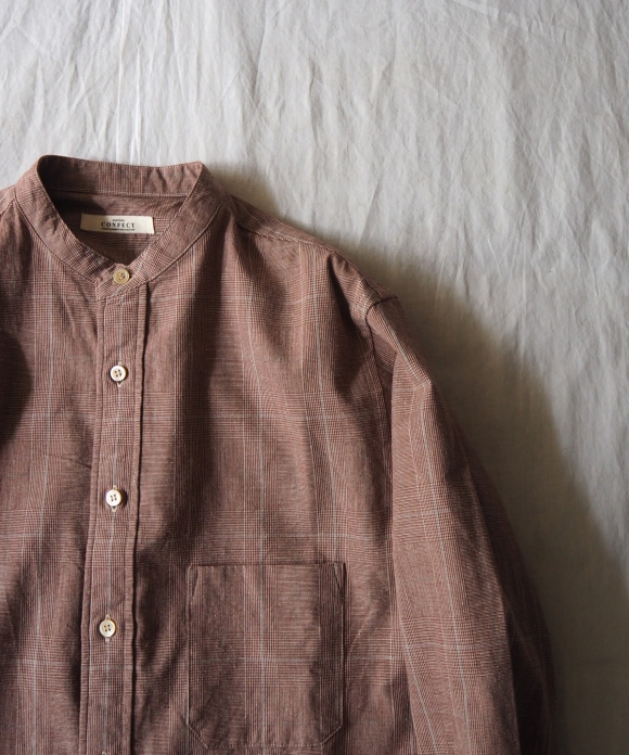 コットンリネングレンチェックバンドカラーシャツ
