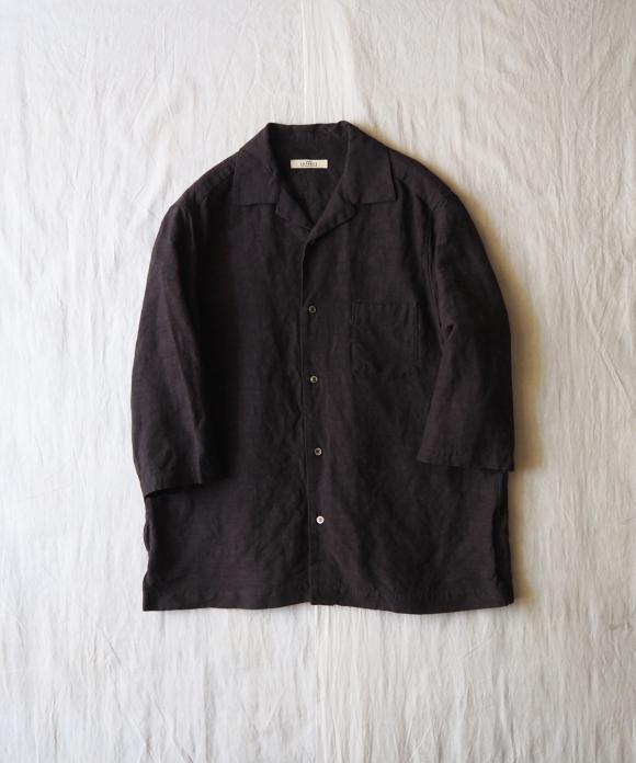 リネンレーヨンオープンカラーシャツ ( Col.チャコールグレー )