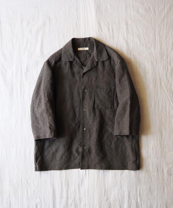 リネンレーヨンオープンカラーシャツ ( Col.オリーブ )