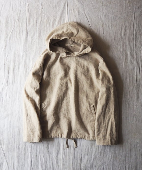 Dusty Brushed Linen Hooded Parka
