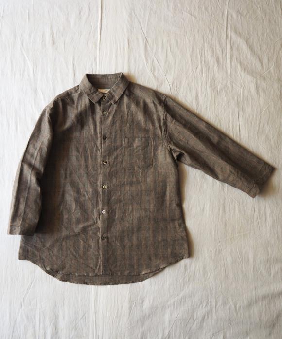 ラミーコットングレンチェック7分袖シャツ