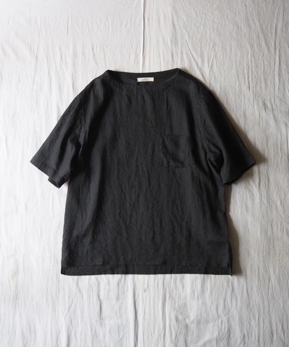 ダスティリネン半袖バスクシャツ